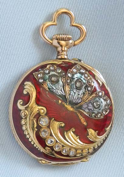 Enamel Diamond Pendant Watch Bogoff Antique Pocket Watch 8028